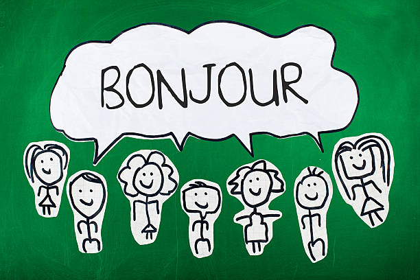 French language education, learning concept, bonjour word in speech bubble with group of sketch people, on chalkboard
